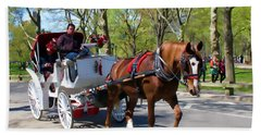 Carriage Ride In Central Park Beach Sheet by Eleanor Abramson