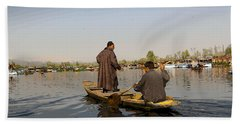 Cartoon - Kashmiri Men Plying A Wooden Boat In The Dal Lake In Srinagar Beach Towel
