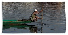 Cartoon - Man Plying A Wooden Boat On The Dal Lake Beach Towel