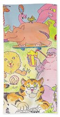 Cartoon Animals Beach Towel