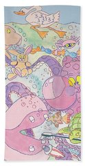 Cartoon Sea Creatures Beach Towel