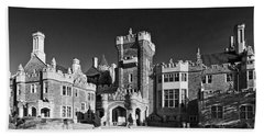 Casa Loma In Toronto In Black And White Beach Towel
