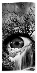 Cascade Crying Eye Grayscale Beach Towel