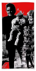 Beach Towel featuring the photograph Cash Family In Red Old Tucson Arizona 1971-2008 by David Lee Guss