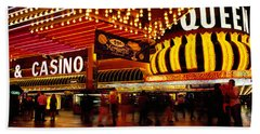 Casino Lit Up At Night, Four Queens Beach Towel