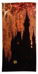 Beach Towel featuring the photograph Castle Fire Show by David Nicholls