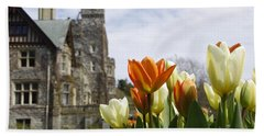 Castle Tulips Beach Towel by Marilyn Wilson