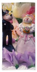 Cat And Dog Bride And Groom Beach Towel