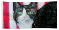 Cat And Stripes  Beach Towel