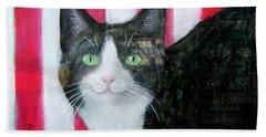 Cat And Stripes  Beach Sheet