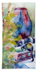 Cat Drinking Fountain Beach Towel