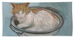 Cat In Casserole  Beach Towel
