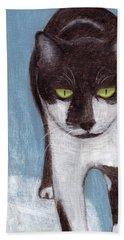 Cat In Winter Beach Towel