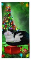 Beach Towel featuring the mixed media Cat In Xmas Tree Hat by Carol Cavalaris