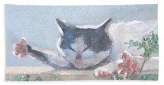 Cat With Geraniums  Beach Towel