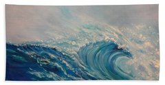 Beach Sheet featuring the painting Wave 111 by Jenny Lee