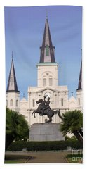 Beach Towel featuring the photograph Cathedral In Jackson Square by Alys Caviness-Gober