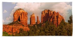 Cathedral Rock Sunset Beach Towel by Bob and Nadine Johnston