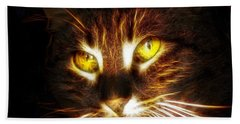 Cat's Eyes - Fractal Beach Towel by Lilia D