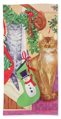 Cats On The Stairs Beach Towel