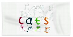 Cats With Paint Cans Beach Towel