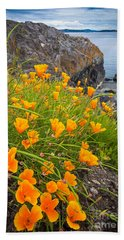 Cattle Point Poppies Beach Towel