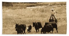 Cattle Round Up Sepia Beach Towel