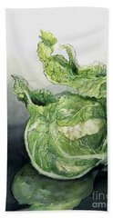 Cauliflower In Reflection Beach Towel by Maria Hunt