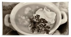 Cauliflower Soup Sepia Tone Beach Sheet by Iris Richardson