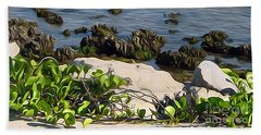 Beach Towel featuring the painting Causeway Shore Blues by Ecinja