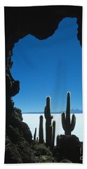 Cave And Cacti Incahuasi Island Beach Sheet