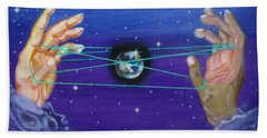Beach Towel featuring the painting Celestial Cats Cradle by Thomas J Herring