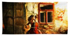 Cellist By Night Beach Sheet