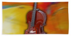 Cello Painting Beach Towel by Marvin Blaine