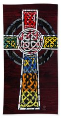 Celtic Cross License Plate Art Recycled Mosaic On Wood Board Beach Towel