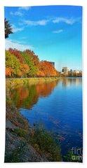 Central Park Autumn Landscape Beach Sheet
