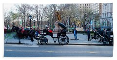 Central Park Horse Carriage Station Panorama Beach Sheet