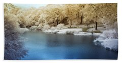 Central Park Lake Infrared Beach Towel