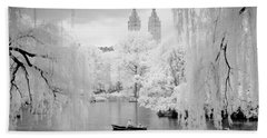 Central Park Lake-infrared Willows Beach Towel