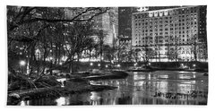 Central Park Lake Night Beach Towel