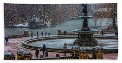 Central Park Snow Storm Beach Towel