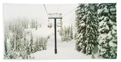 Chair Lift And Snowy Evergreen Trees Beach Towel