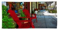 Chairs On A Sidewalk Beach Sheet