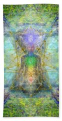 Chakra Tree Anatomy With Mercaba In Chalice Garden Beach Sheet