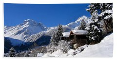 Chalets In A Snow White Valley Beach Towel by IPics Photography