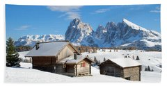 Chalets On The Alpe Di Siusi, Seiser Alm, In The Winter Snow Beach Sheet by IPics Photography