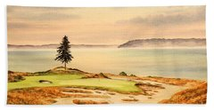Beach Towel featuring the painting Chambers Bay Golf Course Hole 15 by Bill Holkham