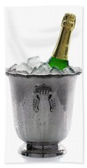 Champagne Bottle On Ice Beach Towel