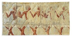 Chapel Of Hathor Hatshepsut Nubian Procession Soldiers - Digital Image -fine Art Print-ancient Egypt Beach Towel