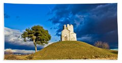 Chapel On Green Hill Nin Dalmatia Beach Sheet by Brch Photography